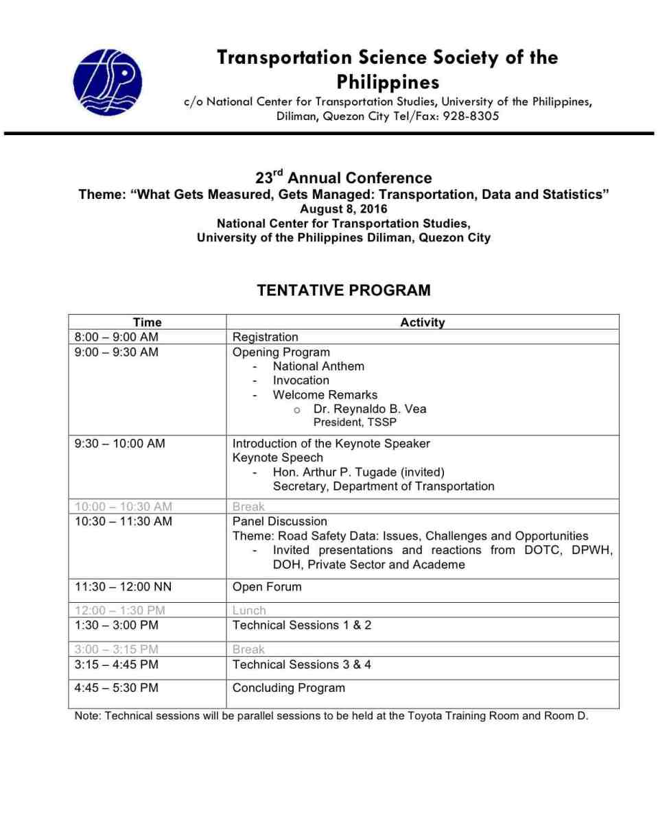 TSSP 2016 Tentative Program